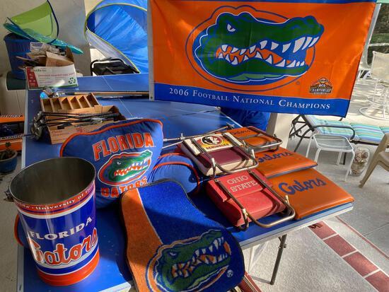 Gators gear, stadium seating and cushions & (2) spectator pole seats