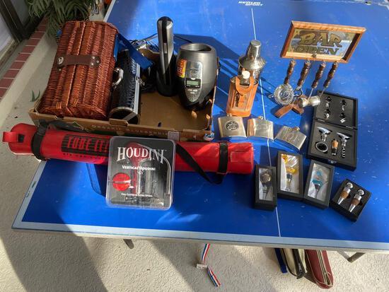 Haier opener, Waring Pro cooler, Grey Goose wicker bottle carrier, flasks & bar equipment