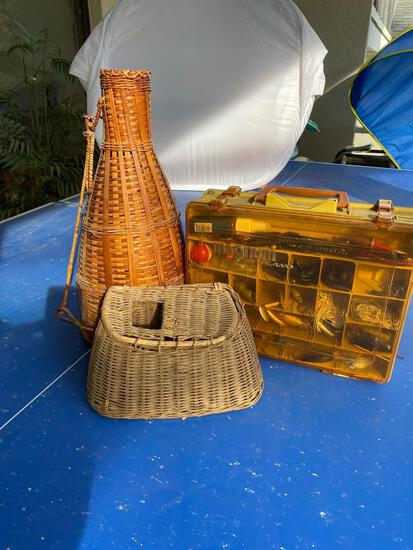 Vintage Fishing Creel ( basket), tackle box with lures and a fish trap