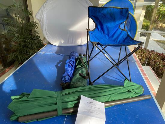 Aok Garden green patio umbellar (NIB) and foldable chairs