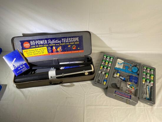 Gilbert 80 power astronomical telescope & Smithsonian chemistry kit