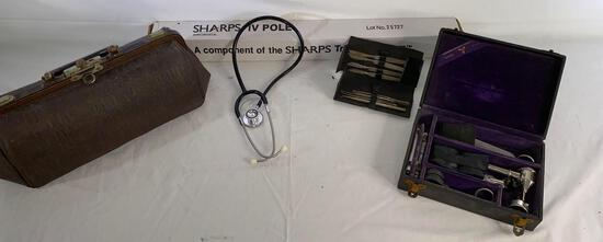 Vintage Cameron Surgical Specials surgery kit, nurse's bag, stethoscope, IV pole