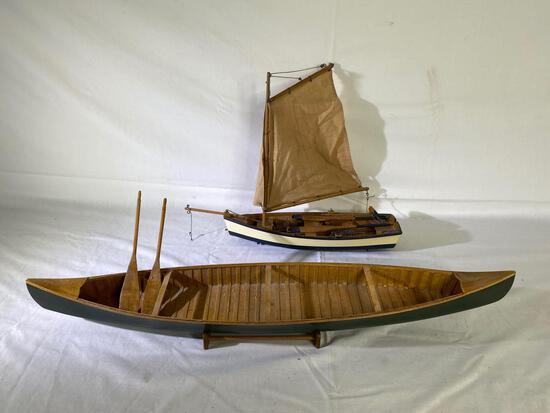 "27"" wood canoe & 16"" sailboat models"
