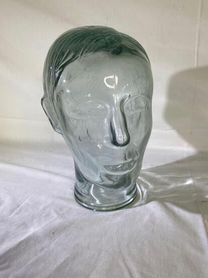 Greenish pressed glass mannequin head for hat or wig