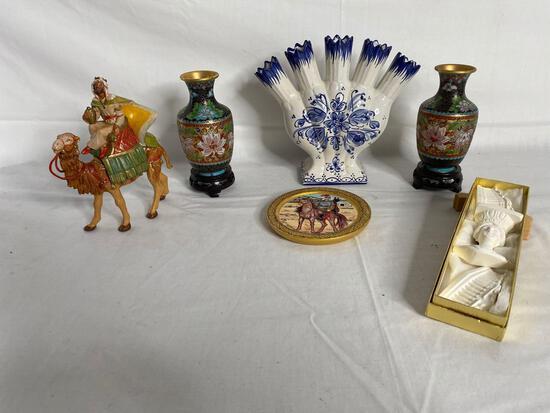 Cloisonne vases, stands, Portuguese vase, camel & more