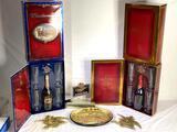 Commemorative Anheuser-Busch sets, Miller High Lite counter sign, Anheuser-Busch wall plaques