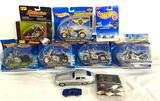 (5) Hot Wheels 1:18 die-cast motorcycles and other car collectibles