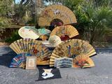 Japanese and Filipino fans, umbrellas, print and postcard album
