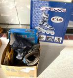 (2) Pair of rollerblades, men's size 6 other( ?), wheels and a pool boat