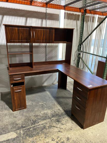 """L-shaped desk with hutch 59"""""""