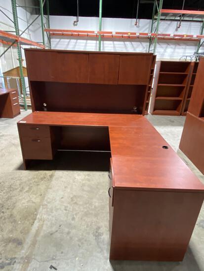 """Cherry laminate desk with hutch 83"""" x 71"""""""