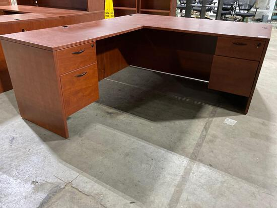 "Cherry laminate desk 83"" x 71"""