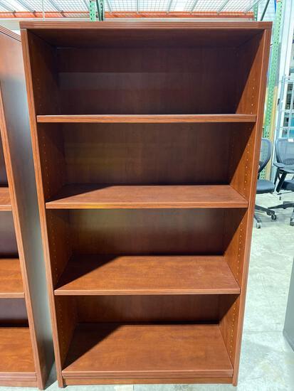 "Cherry laminate bookcase 15"" x 35 1/2"" x 65"""
