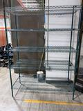Green 5-shelf wire rack 2'x5'x7'
