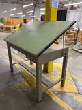 Industrial slant-top metal drafting table