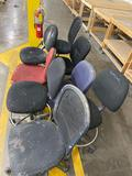 (1) Folding chair and (8) shop chairs