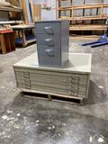 5-drawer flat file and grey file cabinet