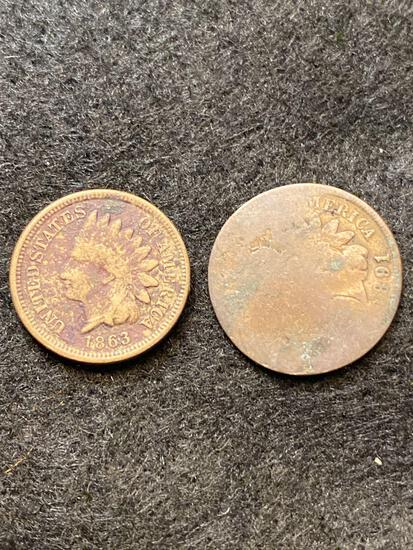 1863 Indian Head - Oak Wreath & Shield penny & other cent