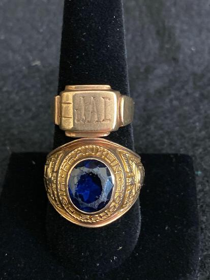 10K Franklin High school class ring and signet ring 16g
