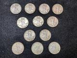 (12) Liberty Walking Half Dollars 1936-46