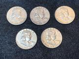 (5) Franklin Half Dollars 1951-56