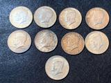 (9) 1964 Kennedy Silver Half Dollars