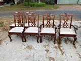 Broyhill Chippendale style chairs- 2 captain and 4 side