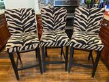 (3) Bar stools with zebra pattern seats
