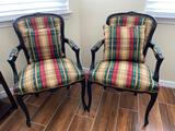 (2) wood chairs with plaid upholstery