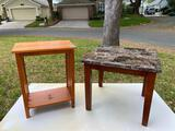 Arts & Crafts style & stone pattern plastic top end table