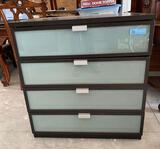 4-drawer glass and wood cabinet