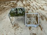 (2) metal end tables with mirror tops *one needs new screws*