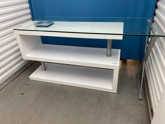 """Decorative white glass top table 30"""" H x 60"""" W x 24"""" D"""