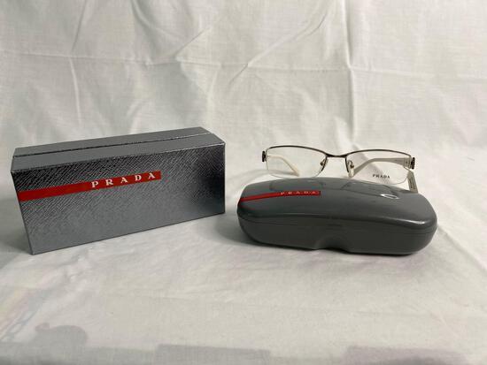 Prada VPR53N gold /white 53.17.134 women's eyeglass frames