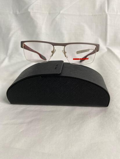 Prada VPS57E gray burgundy 51.17.145 men's eyeglass frames