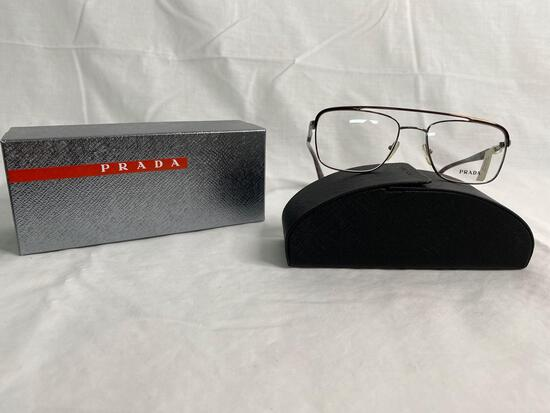 Prada VPR58Q silver brown 53.18.140 men's eyeglass frames
