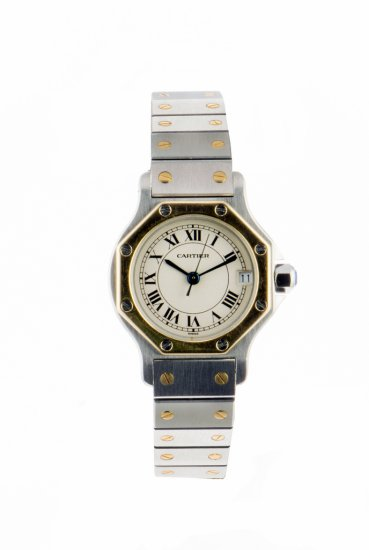 c.1997 Cartier Santos octagonal Ladies Bi metal Automatic