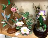 3 Hummingbird Figures 2- are porcelain and 1 is Musical- No damage