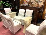 Glass Top Dining Room Table with 6 Chairs