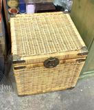 Wicker and Brass Storage Accent Piece