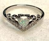 Heart Cut White Fire Opal Ring Size 10