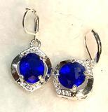 Blue Sapphire Drop dangle Earrings