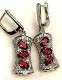 Multi- Stone Raspberry Garnet Oval cut Earrings