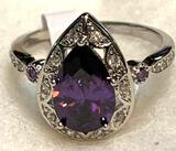 Waterdrop Amethyst and White Topaz ring Size 10