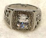 Mens White Sapphire Ring Size 8