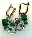 Emerald Earrings Oval Pear Cut Stones