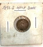 1872 S Seated Liberty Half Dime (Above Bow Mint Mark)