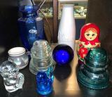 Shelf Lot- Insulators, Nesting Dolls and More