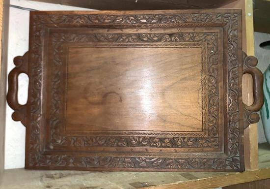 Vintage Wood Craved Tray