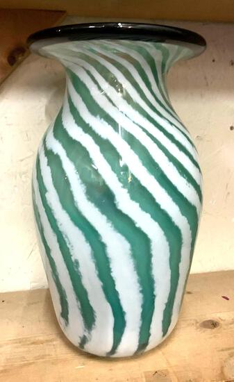 Blown Glass Vase- Very Heavy- Made by a local Artist